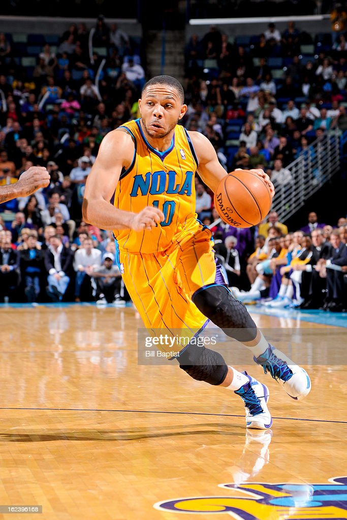 <a gi-track='captionPersonalityLinkClicked' href=/galleries/search?phrase=Eric+Gordon+-+Basketball+Player&family=editorial&specificpeople=4212733 ng-click='$event.stopPropagation()'>Eric Gordon</a> #10 of the New Orleans Hornets controls the ball against the Dallas Mavericks on February 22, 2013 at the New Orleans Arena in New Orleans, Louisiana.