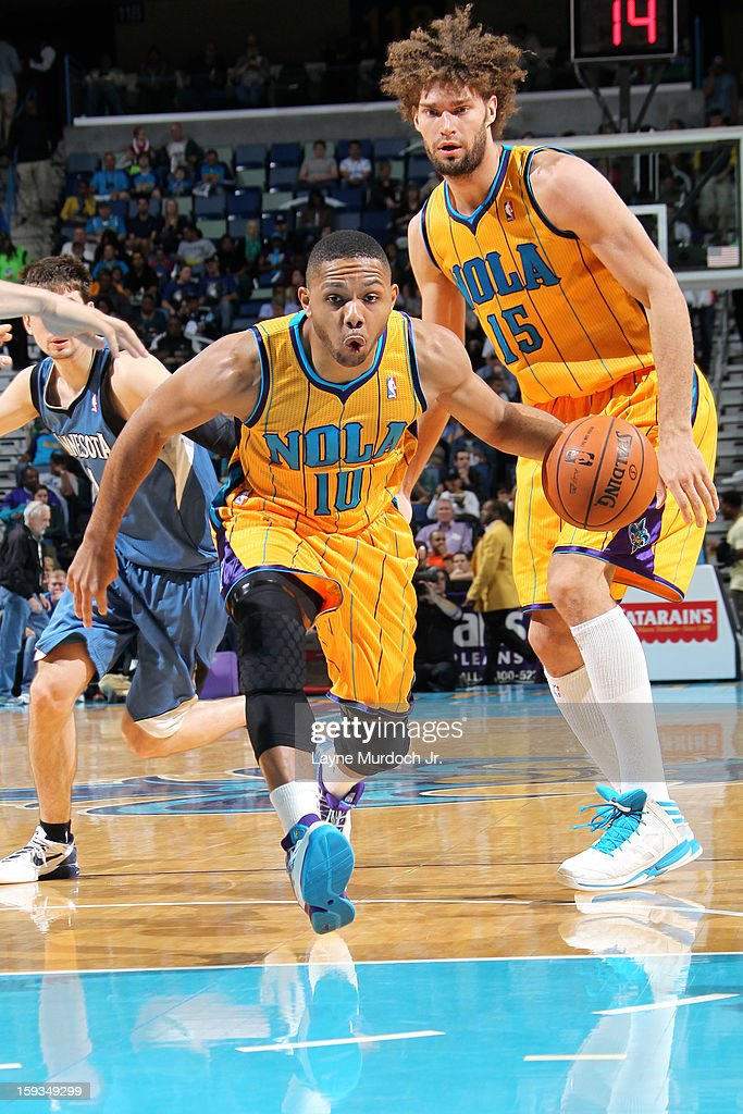 Eric Gordon #10 of the New Orleans Hornets drives to the basket against the Minnesota Timberwolves on January 11, 2013 at the New Orleans Arena in New Orleans, Louisiana.