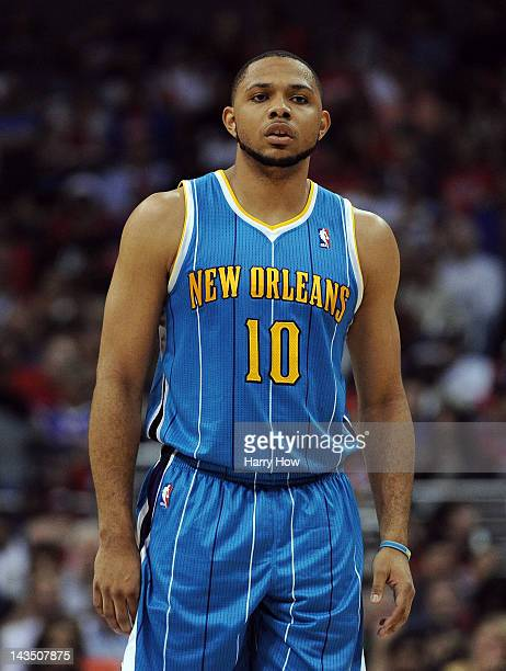 Eric Gordon of the New Orleans Hornets during the game against the Los Angeles Clippers at Staples Center on April 22 2012 in Los Angeles California...