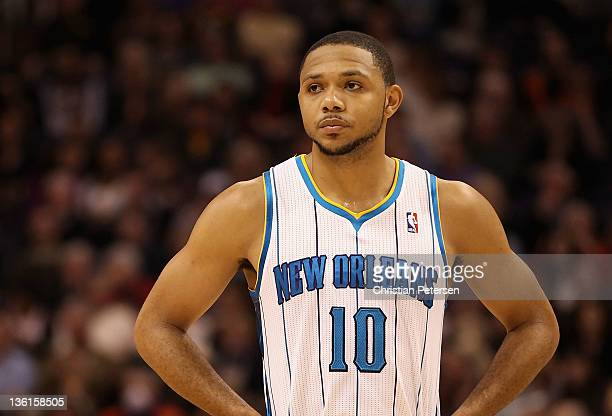Eric Gordon of the New Orleans Hornets during the season openning NBA game against the Phoenix Suns at US Airways Center on December 26 2011 in...