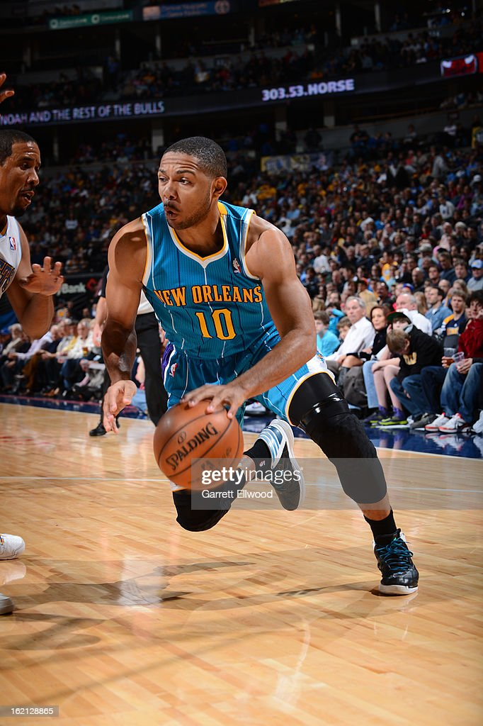 <a gi-track='captionPersonalityLinkClicked' href=/galleries/search?phrase=Eric+Gordon&family=editorial&specificpeople=4212733 ng-click='$event.stopPropagation()'>Eric Gordon</a> #10 of the New Orleans Hornets handles the ball against the Denver Nuggets on February 1, 2013 at the Pepsi Center in Denver, Colorado.