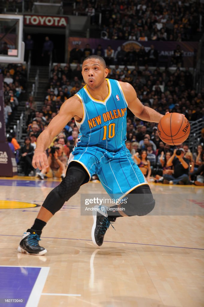 Eric Gordon #10 of the New Orleans Hornets looks to drive to the basket against the Los Angeles Lakers at Staples Center on January 29, 2013 in Los Angeles, California.