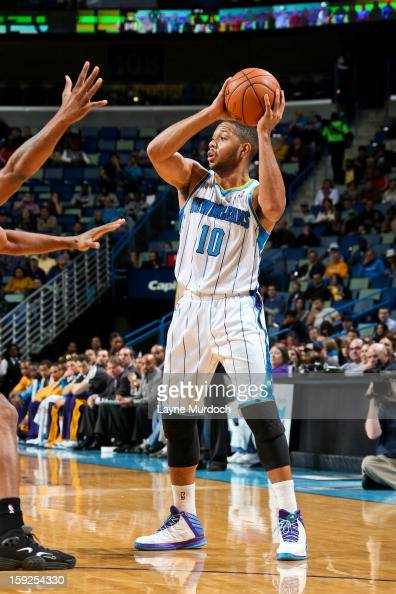 Eric Gordon of the New Orleans Hornets looks to pass the ball against the San Antonio Spurs on January 7 2013 at the New Orleans Arena in New Orleans...