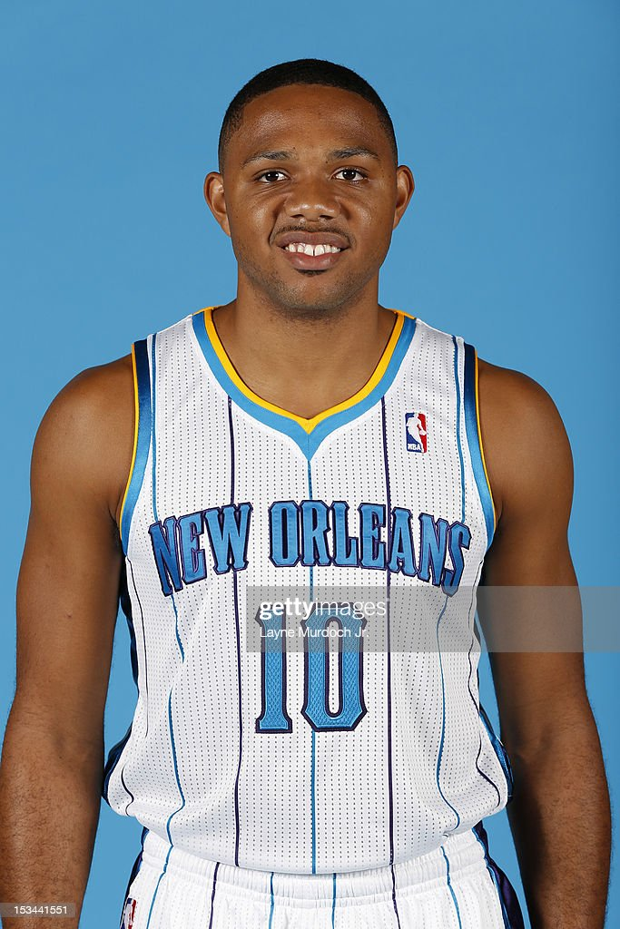 Eric Gordon #10 of the New Orleans Hornets poses for a portrait for 2012 NBA Media Day on October 1, 2012 at the Alerio Center in Westwego, Louisiana.