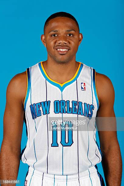 Eric Gordon of the New Orleans Hornets poses for a portrait for 2012 NBA Media Day on October 1 2012 at the Alerio Center in Westwego Louisiana NOTE...