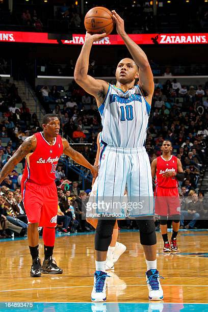 Eric Gordon of the New Orleans Hornets shoots a freethrow against the Los Angeles Clippers on March 27 2013 at the New Orleans Arena in New Orleans...