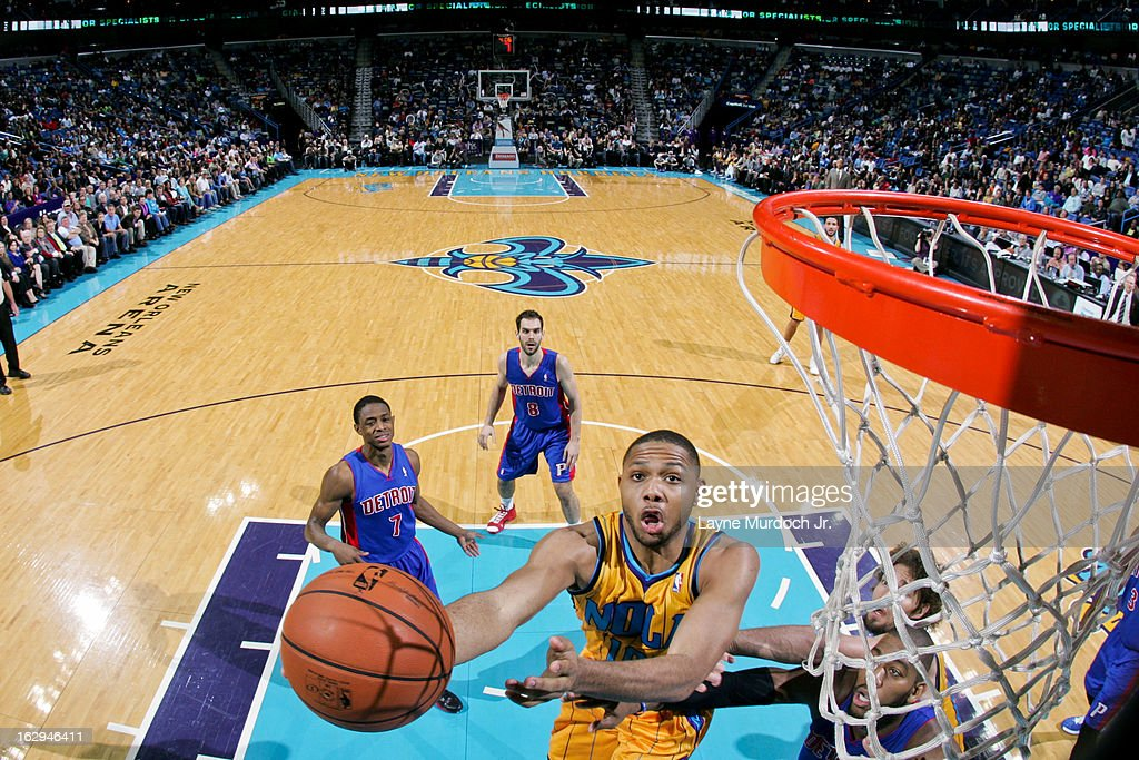 Eric Gordon #10 of the New Orleans Hornets shoots a layup against the Detroit Pistons on March 1, 2013 at the New Orleans Arena in New Orleans, Louisiana.