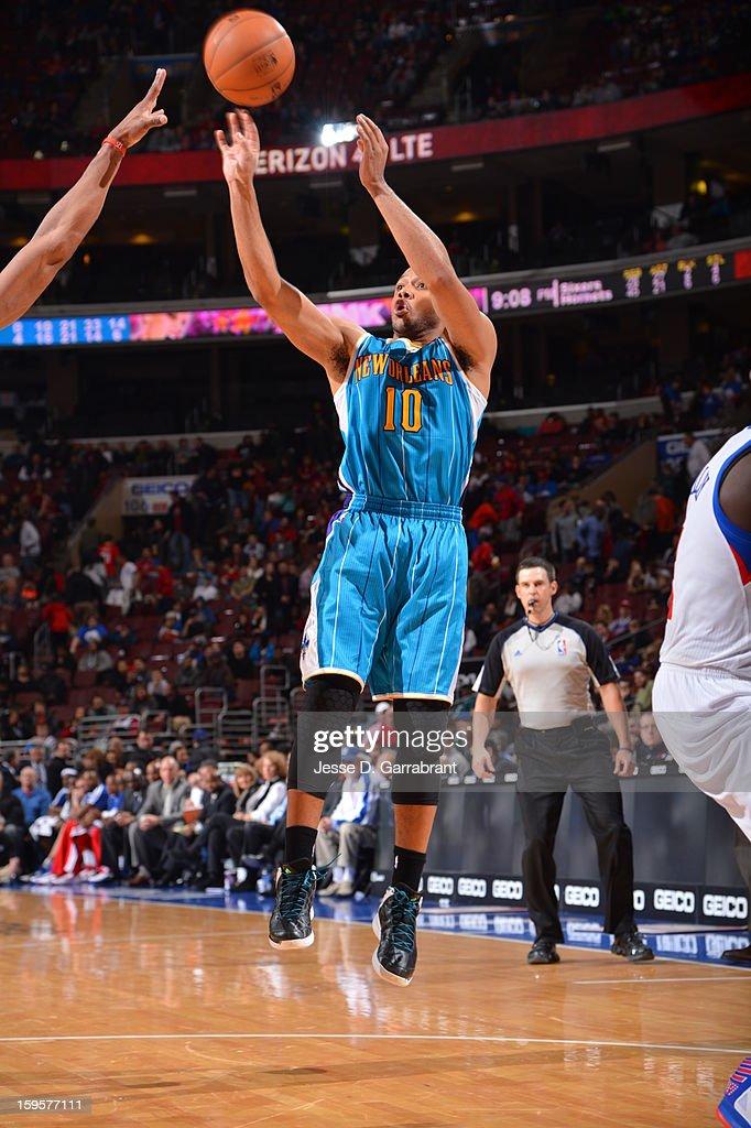 Eric Gordon #10 of the New Orleans Hornets takes a shot against the Philadelphia 76ers at the Wells Fargo Center on January 15, 2013 in Philadelphia, Pennsylvania.