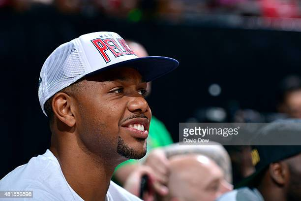 Eric Gordon of the New Orleans Pelicans attends a game against the Brooklyn Nets during the 2015 NBA Las Vegas Summer League game on July 13 2015 at...