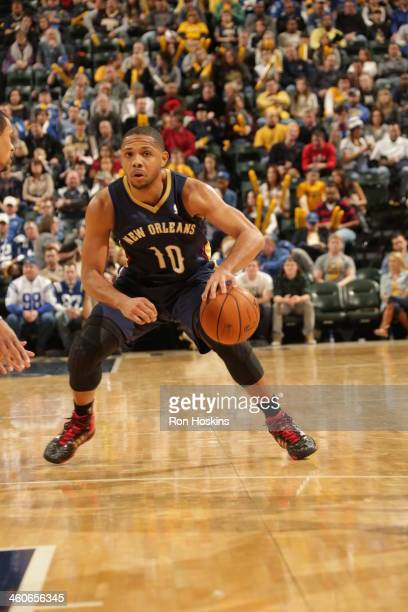 Eric Gordon of the New Orleans Pelicans dribbles the ball against the Indiana Pacers at Bankers Life Fieldhouse on January 4 2014 in Indianapolis...
