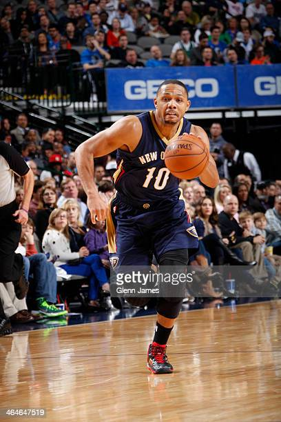 Eric Gordon of the New Orleans Pelicans dribbles the ball against the Dallas Mavericks on January 11 2014 at the American Airlines Center in Dallas...