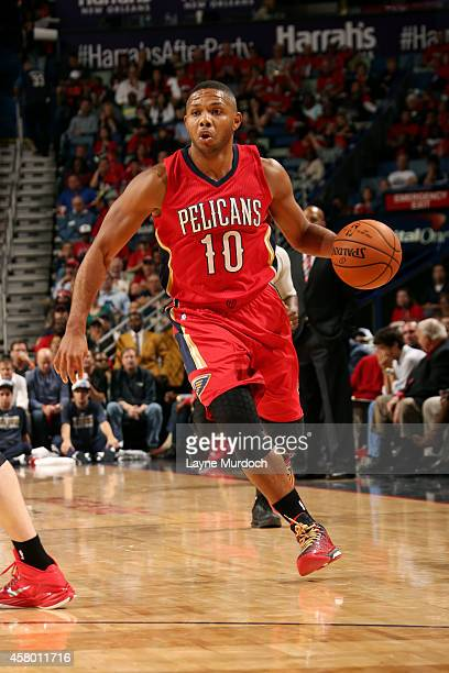 Eric Gordon of the New Orleans Pelicans drives against the Orlando Magic on October 28 2014 at Smoothie King Center in New Orleans LA NOTE TO USER...