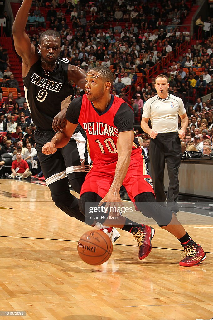 <a gi-track='captionPersonalityLinkClicked' href=/galleries/search?phrase=Eric+Gordon&family=editorial&specificpeople=4212733 ng-click='$event.stopPropagation()'>Eric Gordon</a> #10 of the New Orleans Pelicans handles the ball against the Miami Heat during the game on February 21, 2015 at AmericanAirlines Arena in Miami, Florida.