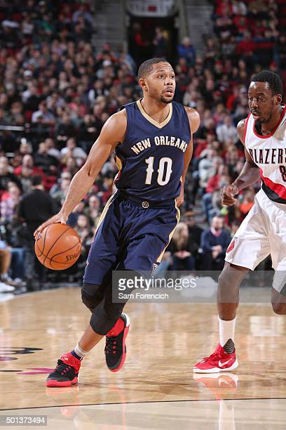 Eric Gordon of the New Orleans Pelicans handles the ball against the Portland Trail Blazers on December 14 2015 at the Moda Center in Portland Oregon...