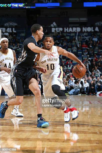 Eric Gordon of the New Orleans Pelicans handles the ball during the game against the Minnesota Timberwolves on January 19 2016 at the Smoothie King...