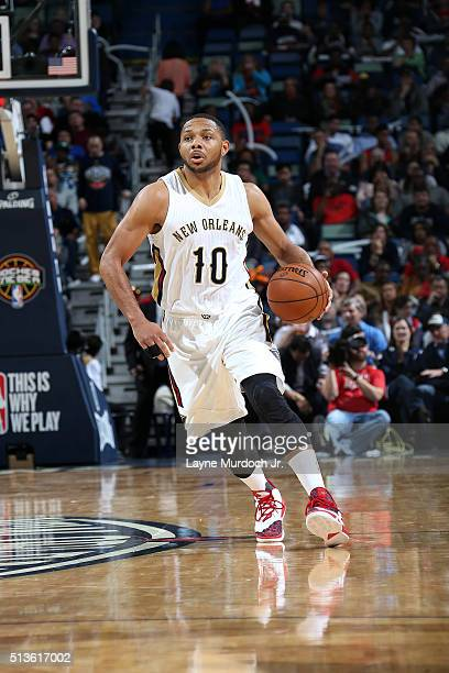 Eric Gordon of the New Orleans Pelicans handles the ball during the game against the San Antonio Spurs on March 3 2016 at the Smoothie King Center in...