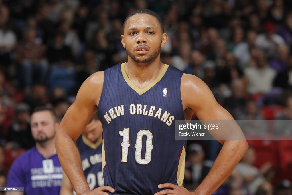 <a gi-track='captionPersonalityLinkClicked' href=/galleries/search?phrase=Eric+Gordon&family=editorial&specificpeople=4212733 ng-click='$event.stopPropagation()'>Eric Gordon</a> #10 of the New Orleans Pelicans in a game against the Sacramento Kings on March 3, 2014 at Sleep Train Arena in Sacramento, California.
