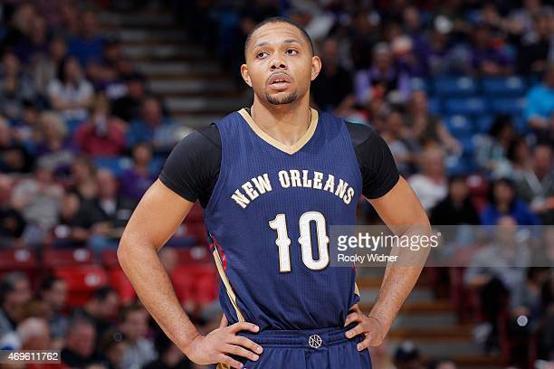 Eric Gordon of the New Orleans Pelicans looks on during the game against the Sacramento Kings on April 3 2015 at Sleep Train Arena in Sacramento...