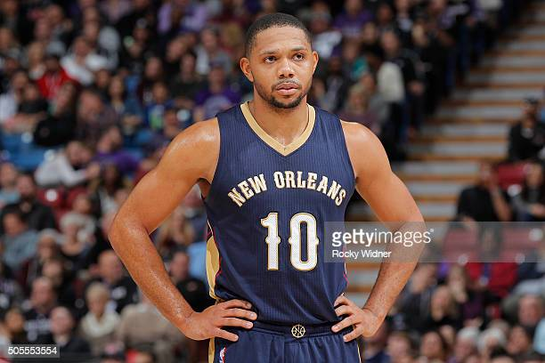 Eric Gordon of the New Orleans Pelicans looks on during the game against the Sacramento Kings on January 13 2016 at Sleep Train Arena in Sacramento...