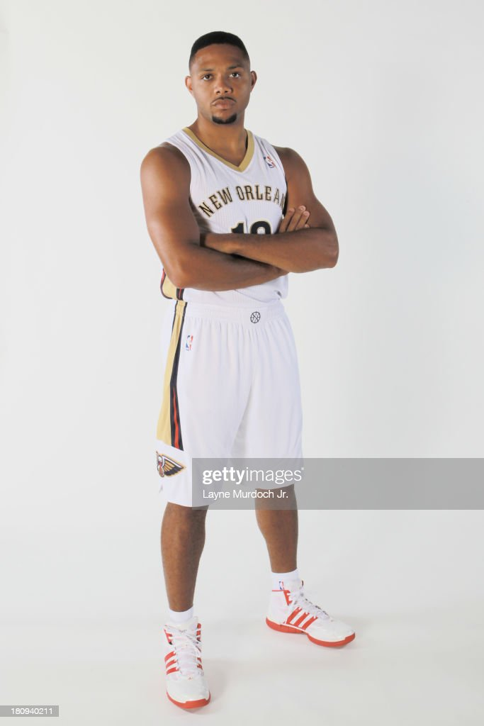 Eric Gordon #10 of the New Orleans Pelicans participates in a photo shoot introducing the team's new uniform on September 17, 2013 at the New Orleans Pelicans practice facility in Metairie, Louisiana.