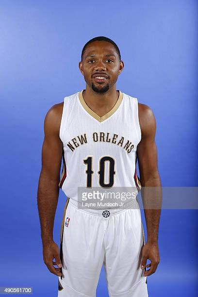 Eric Gordon of the New Orleans Pelicans pose for photos during NBA Media Day on September 28 2015 at the New Orleans Pelicans practice facility in...