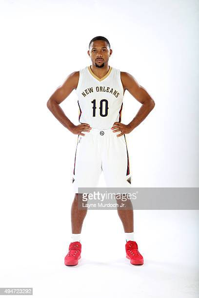 Eric Gordon of the New Orleans Pelicans poses for a photo during NBA Media Day on October 14 2015 at the New Orleans Pelicans practice facility in...