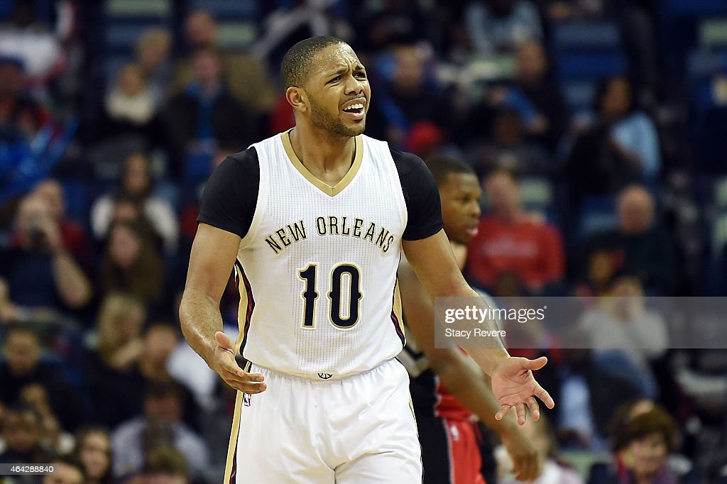 Eric Gordon #10 of the New Orleans Pelicans reacts to an official's call during the second half of a game against the Toronto Raptors at the Smoothie King Center on February 23, 2015 in New Orleans, Louisiana.