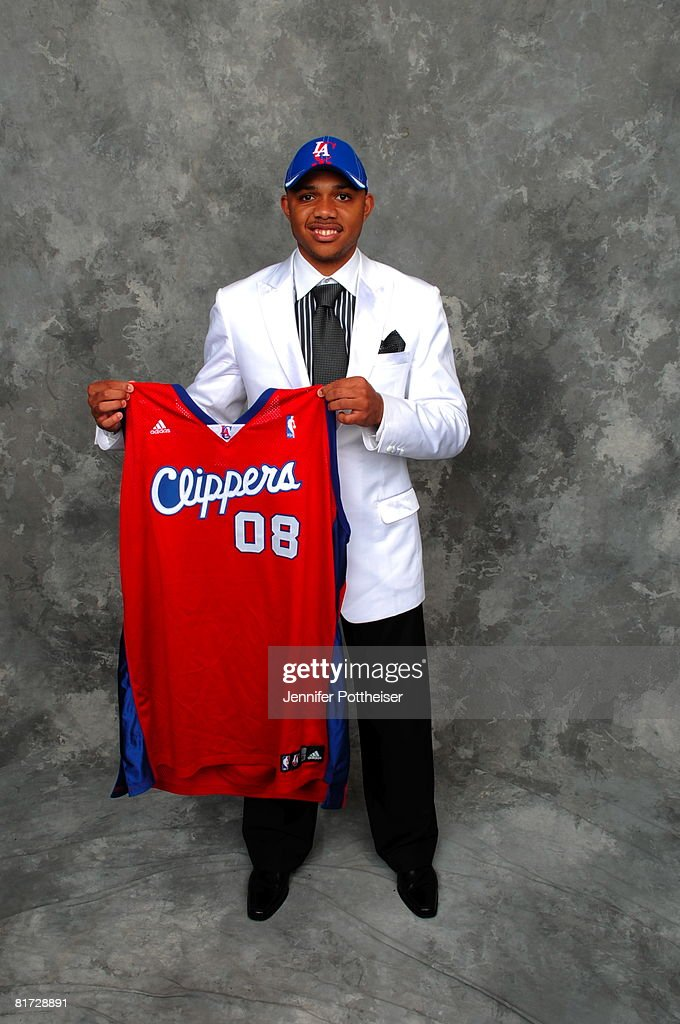 Eric Gordon selected number seven overall by the Los Angeles Clippers poses for a portrait backstage during the 2008 NBA Draft on June 26, 2008 at the WaMu Theatre at Madison Square Garden in New York City.
