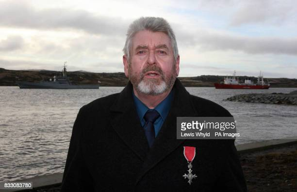 Eric Goss Manager of Goose Green Settlement in 1982 when it was occupied standing near Liberation Monument in Stanley in the Falklands during a...