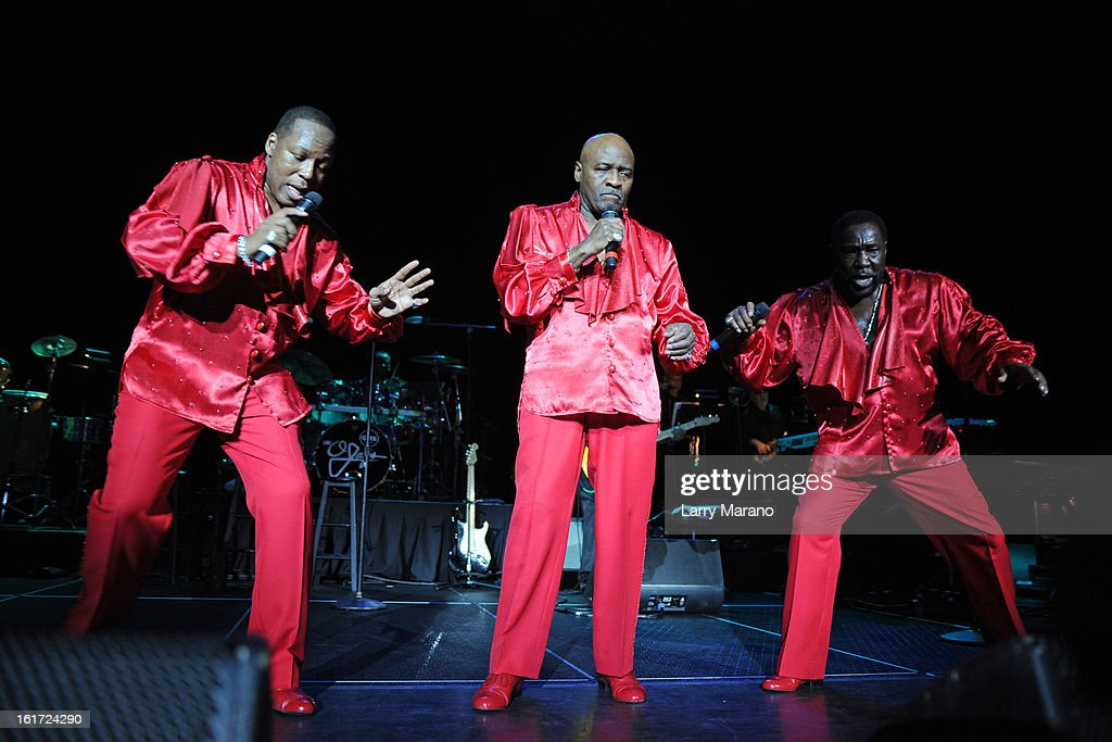 Eric Grant, Walter Williams and Eddie Levert of The O Jays perform at Hard Rock Live! in the Seminole Hard Rock Hotel & Casino on February 14, 2013 in Hollywood, Florida.