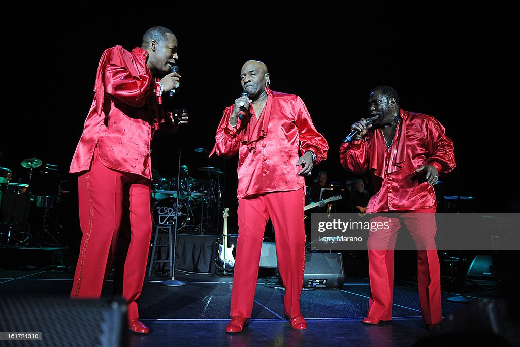 Eric Grant, Walter Williams and <a gi-track='captionPersonalityLinkClicked' href=/galleries/search?phrase=Eddie+Levert&family=editorial&specificpeople=2534545 ng-click='$event.stopPropagation()'>Eddie Levert</a> of The O Jays perform at Hard Rock Live! in the Seminole Hard Rock Hotel & Casino on February 14, 2013 in Hollywood, Florida.
