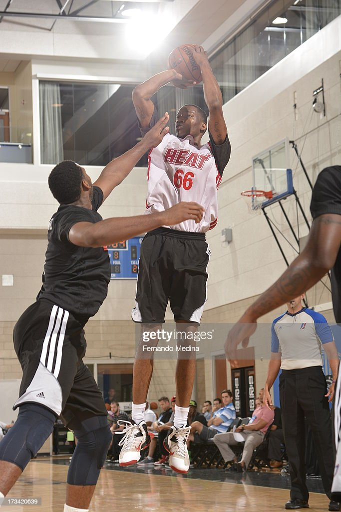Eric Griffin #66 of the Miami Heat shoots a jump shot during the 2013 Southwest Airlines Orlando Pro Summer League between the Detroit Pistons and the Miami Heat on July 12, 2013 at Amway Center in Orlando, Florida.