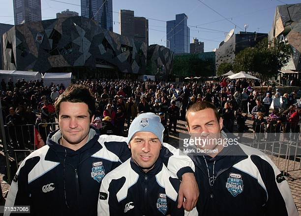 Eric Grothe Craig Gower and Matt Cooper of the NSW Blues await there turn to be interviewed during the State of Origin player appearance at...