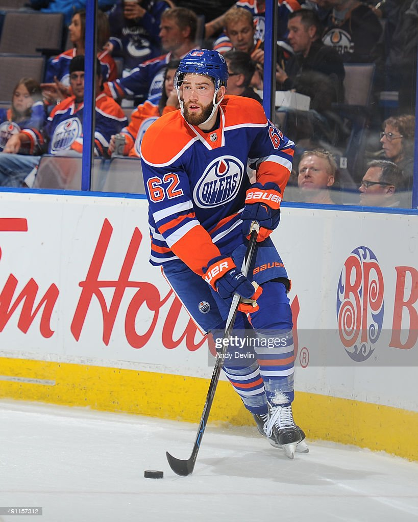 <a gi-track='captionPersonalityLinkClicked' href=/galleries/search?phrase=Eric+Gryba&family=editorial&specificpeople=570539 ng-click='$event.stopPropagation()'>Eric Gryba</a> #62 of the Edmonton Oilers skates during a preseason game against the Vancouver Canucks on October 1, 2015 at Rexall Place in Edmonton, Alberta, Canada.