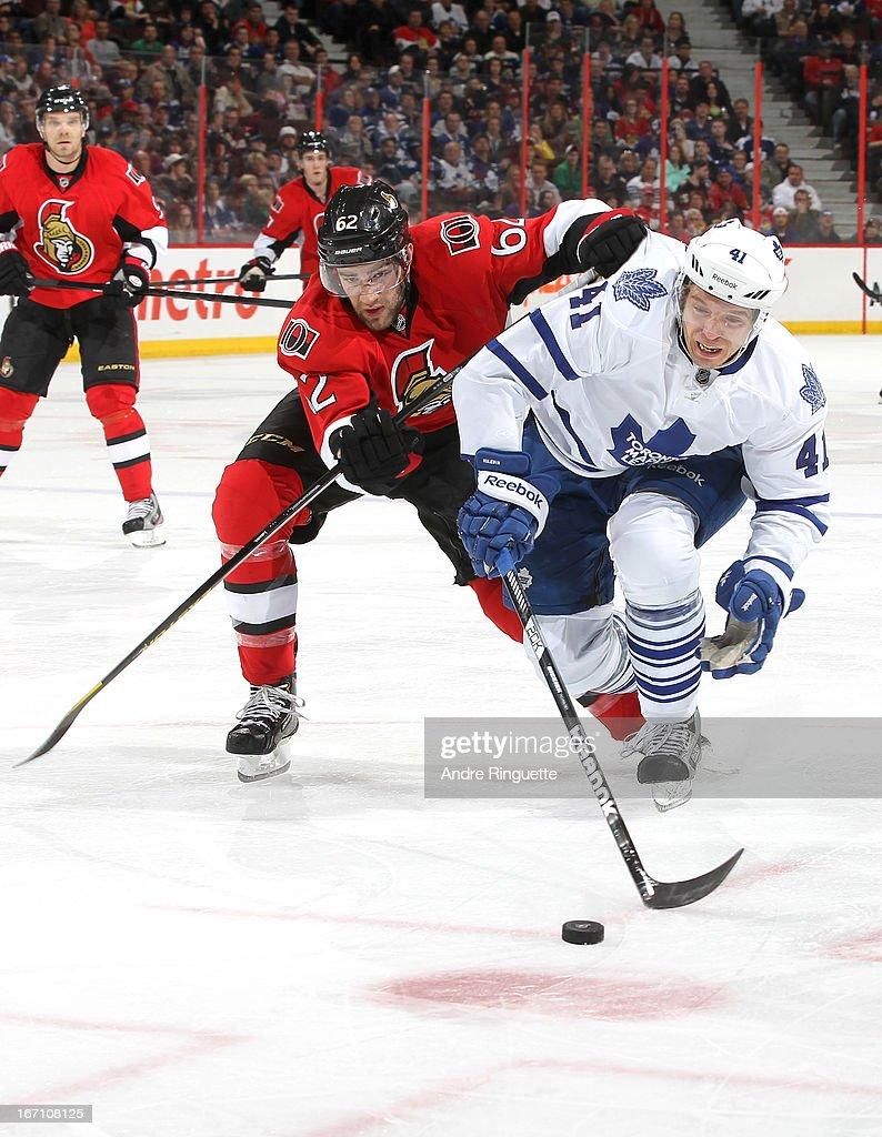 Eric Gryba #62 of the Ottawa Senators battles for position against Nikolai Kulemin #41 of the Toronto Maple Leafs on April 20, 2013 at Scotiabank Place in Ottawa, Ontario, Canada.