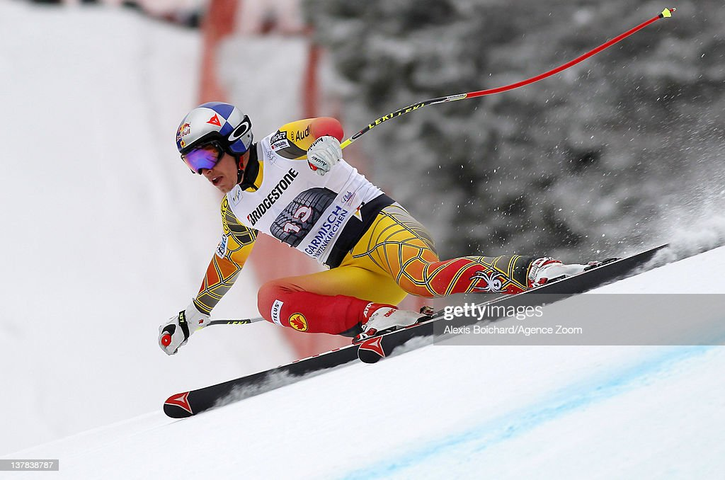 Eric Guay of Canada takes 2nd place during the Audi FIS Alpine Ski World Cup Men's Downhill on January 28, 2012 in Garmisch-Partenkirchen, Germany.