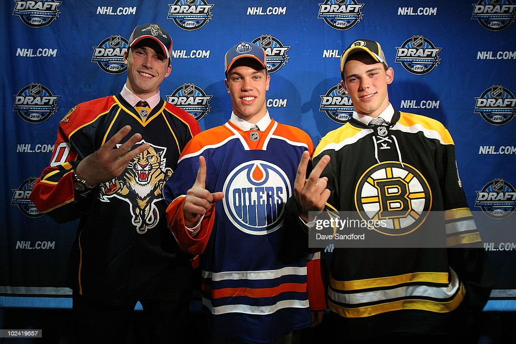 Eric Gudbranson, drafted third overall by the Florida Panthers, Taylor Hall drafted first overall by the Edmonton Oilers and Tyler Seguin drafted second overall by the Boston Bruins pose for a picture during the 2010 NHL Entry Draft at Staples Center on June 25, 2010 in Los Angeles, California.