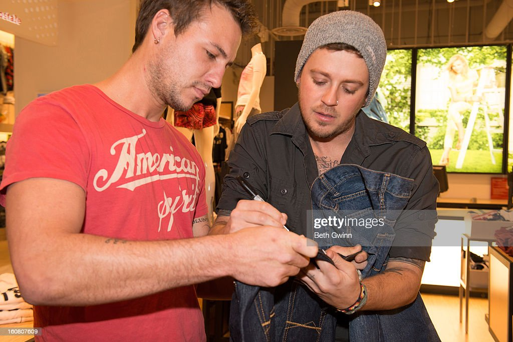 Eric Gunderson and Stephen Baker Liles of ACM nominated duo Love and Theft supports DoSomething.org and Aeropostale's '6th Annual Teens for Jeans' campaign on February 5, 2013 in Nashville, Tennessee.