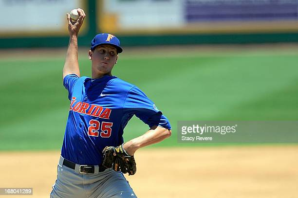 Eric Hanhold of the Florida Gators throws a pitch against the LSU Tigers during a game at Alex Box Stadium on May 4 2013 in Baton Rouge Louisiana