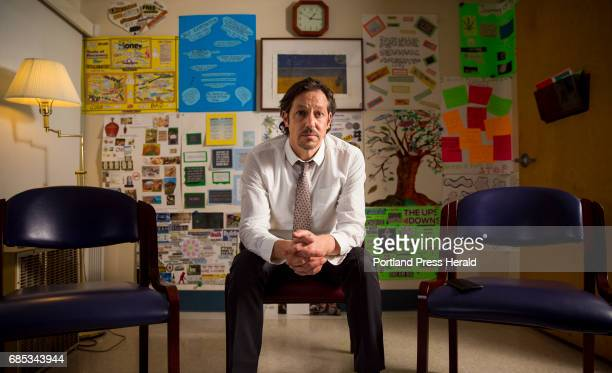 Eric Haram director of outpatient behavioral health at Mid Coast Hospital's Addiction Resource Center sits in the group therapy room which is adorned...