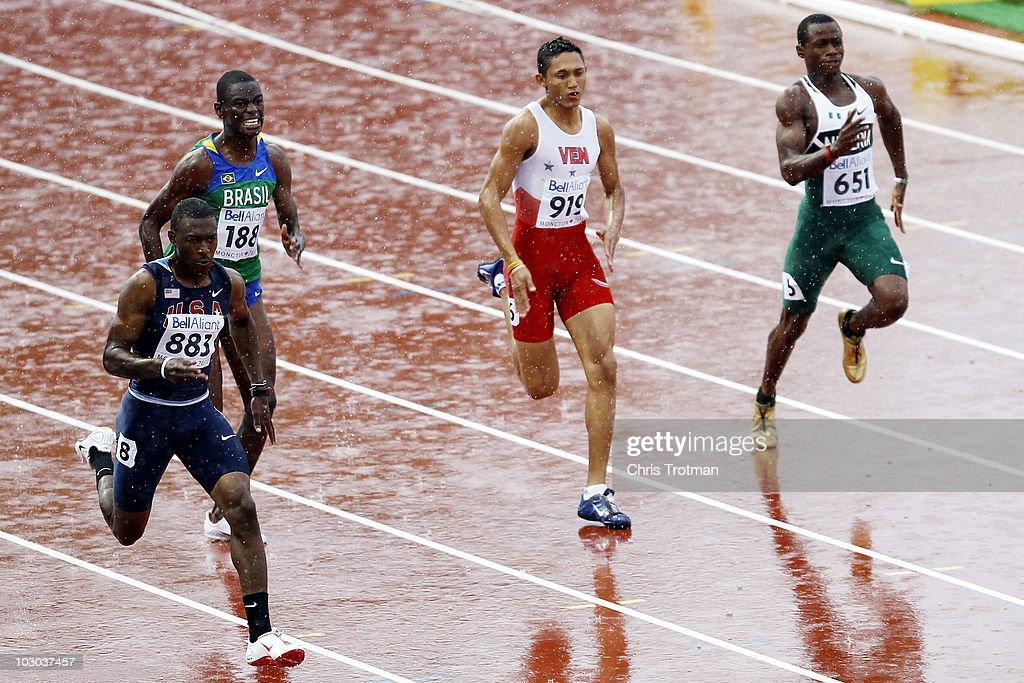 Eric Harris of the United States Antonio Cesar Rodrigues of Brazil Arturo Ramirez of Venezuela and Jonathan Nmaju of Nigeria run in the 200 Metres...