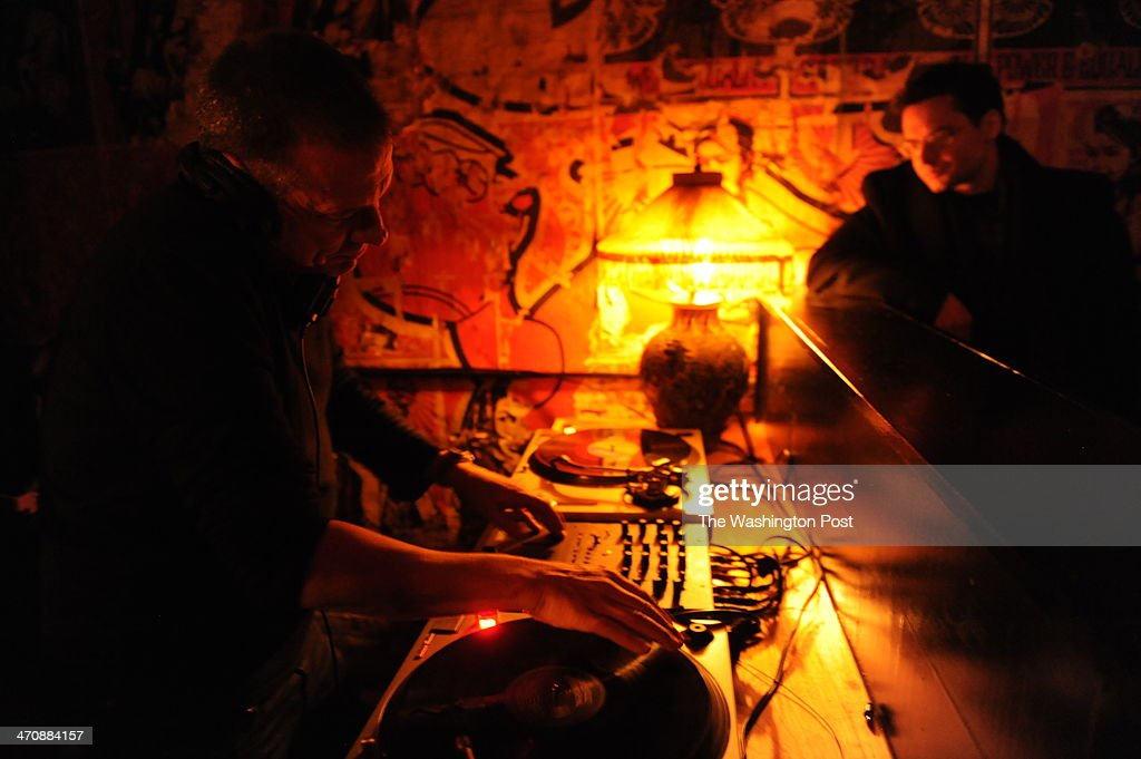 Eric Hilton, owner of Den of Thieves, DJ's on location on Saturday night. January, 25, 2014 in Washington, DC.