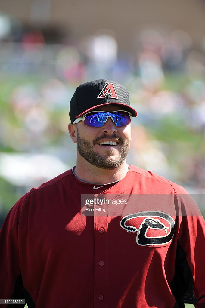<a gi-track='captionPersonalityLinkClicked' href=/galleries/search?phrase=Eric+Hinske&family=editorial&specificpeople=213156 ng-click='$event.stopPropagation()'>Eric Hinske</a> #22 of the Arizona Diamondbacks is seen prior to the game against the Colorado Rockies on February 23, 2013 at the Salt River Fields at Talking Stick in Scottsdale, Arizona. The Rockies defeated the Diamondbacks 11-2.