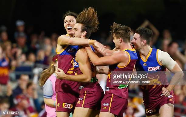 Eric Hipwood of the lions celebrates a goal during the round 18 AFL match between the Brisbane Lions and the Carlton Blues at The Gabba on July 23...