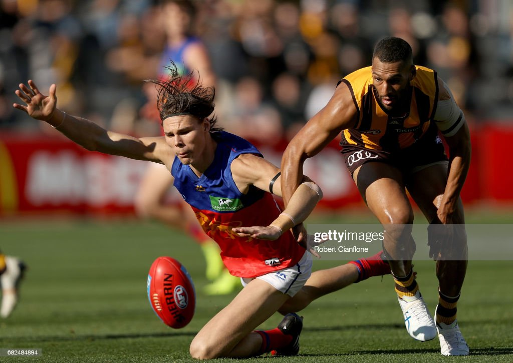 Eric Hipwood of the Lions is challenged by Josh Gibson of the Hawks during the round eight AFL match between the Hawthorn Hawks and the Brisbane Lions at University of Tasmania Stadium on May 13, 2017 in Launceston, Australia.