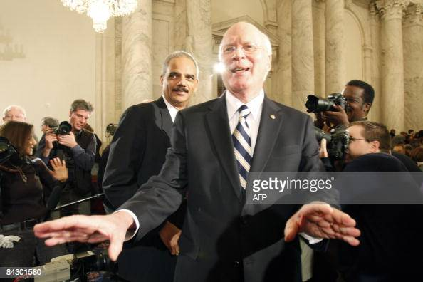 Eric Holder arrives for his confirmation hearing with Senator Patrick Leahy Chairman of the Senate Judiciary Committee on Capitol Hill on January 15...