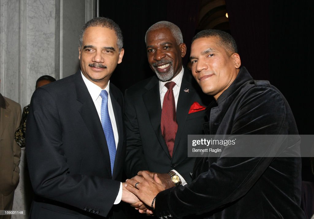 Eric Holder, Dan Gasby and Paxton Baker attend BET Honors 2013: Debra Lee Pre-Dinner at The Library of Congress on January 11, 2013 in Washington, DC.