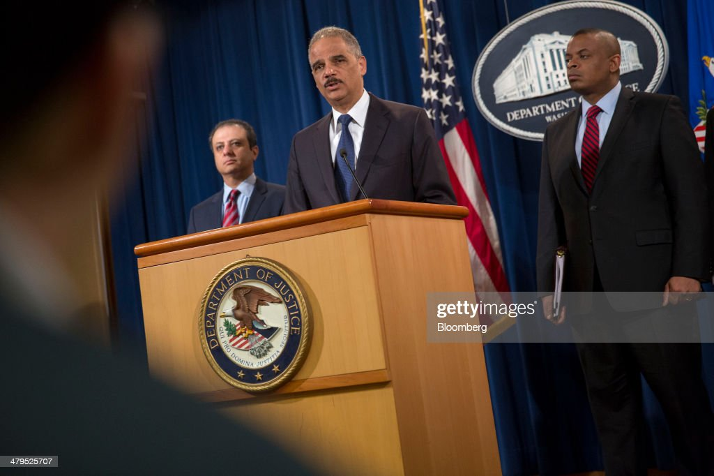 <a gi-track='captionPersonalityLinkClicked' href=/galleries/search?phrase=Eric+Holder&family=editorial&specificpeople=1060367 ng-click='$event.stopPropagation()'>Eric Holder</a>, U.S. attorney general, center, speaks during a news conference with <a gi-track='captionPersonalityLinkClicked' href=/galleries/search?phrase=Anthony+Foxx&family=editorial&specificpeople=7128225 ng-click='$event.stopPropagation()'>Anthony Foxx</a>, U.S. secretary of transportation, right, and <a gi-track='captionPersonalityLinkClicked' href=/galleries/search?phrase=Preet+Bharara&family=editorial&specificpeople=6378363 ng-click='$event.stopPropagation()'>Preet Bharara</a>, U.S. attorney for the Southern District of New York, at the Department of Justice in Washington, D.C., U.S., on Wednesday, March 19, 2014. Toyota Motor Corp. has agreed to pay a $1.2 billion penalty to end a U.S. criminal probe into sudden unintended acceleration that led to the recall of more than 10 million vehicles, the Justice Department said. Photographer: Andrew Harrer/Bloomberg via Getty Images
