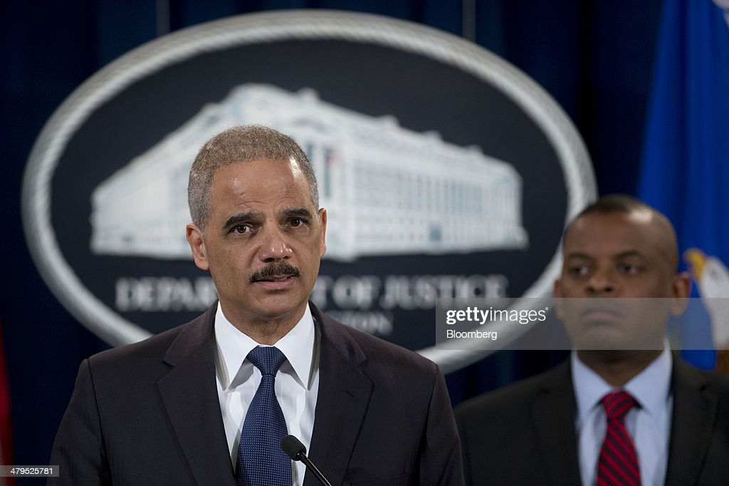 <a gi-track='captionPersonalityLinkClicked' href=/galleries/search?phrase=Eric+Holder&family=editorial&specificpeople=1060367 ng-click='$event.stopPropagation()'>Eric Holder</a>, U.S. attorney general, left, speaks during a news conference with <a gi-track='captionPersonalityLinkClicked' href=/galleries/search?phrase=Anthony+Foxx&family=editorial&specificpeople=7128225 ng-click='$event.stopPropagation()'>Anthony Foxx</a>, U.S. secretary of transportation, at the Department of Justice in Washington, D.C., U.S., on Wednesday, March 19, 2014. Toyota Motor Corp. has agreed to pay a $1.2 billion penalty to end a U.S. criminal probe into sudden unintended acceleration that led to the recall of more than 10 million vehicles, the Justice Department said. Photographer: Andrew Harrer/Bloomberg via Getty Images