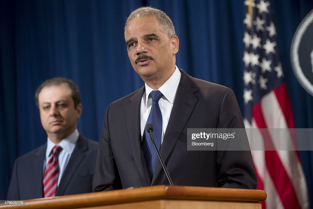 <a gi-track='captionPersonalityLinkClicked' href=/galleries/search?phrase=Eric+Holder&family=editorial&specificpeople=1060367 ng-click='$event.stopPropagation()'>Eric Holder</a>, U.S. attorney general, right, speaks during a news conference with <a gi-track='captionPersonalityLinkClicked' href=/galleries/search?phrase=Preet+Bharara&family=editorial&specificpeople=6378363 ng-click='$event.stopPropagation()'>Preet Bharara</a>, U.S. attorney for the Southern District of New York, at the Department of Justice in Washington, D.C., U.S., on Wednesday, March 19, 2014. Toyota Motor Corp. has agreed to pay a $1.2 billion penalty to end a U.S. criminal probe into sudden unintended acceleration that led to the recall of more than 10 million vehicles, the Justice Department said. Photographer: Andrew Harrer/Bloomberg via Getty Images